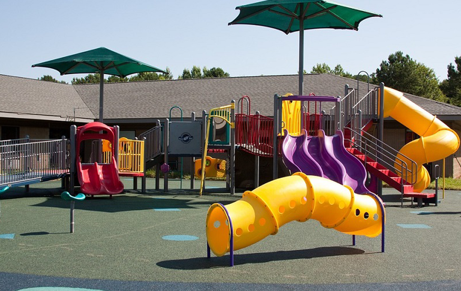 A kid's playground with slides